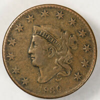 1830 1c CORONET HEAD LARGE CENT, NICE DETAIL EARLY COPPER COIN LOT#N608