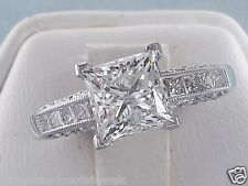 2.5ct Princess Cut Diamond Engagement Ring Engraved Channel Set 14kt White Gold