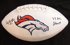 Craig Morton Denver Broncos Football with 1977 AFC Champs Inscription