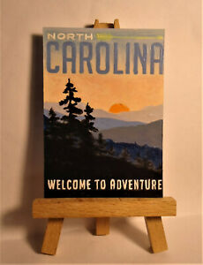 North Carolina state poster ACEO Original PAINTING by Ray Dicken