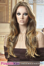 HOT Layered Lace Front Wig HEAT FRIENDLY Safe OK Brown Blonde Tip