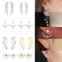 Women Double Sided Ear Jacket Piercing Water Drop Crystal Earrings Jewelry Gift