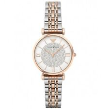 Emporio Armani AR1926 Silver Two Tone White Crystal Pave Dial Ladies Wrist Watch