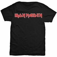 Mens Iron Maiden Iconic Red Logo Black Crew Neck T-Shirt - Unisex Rock Music Tee