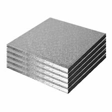 6' Square Drum Cake Board - Pack Of 5 Silver
