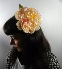Grosse pince cheveux fleur pivoine rose pâle pinup rétro rockabilly sexy glamour
