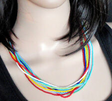 Rainbow necklace African tribal ethnic zulu beaded multi strand jewellery bright
