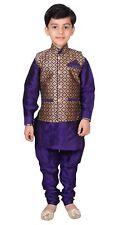 Boys 3 Pcs Sherwani Waistcoat Kurta Pajama Asian Wedding Party Costume EB 944