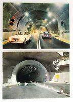 2x COURMAYEUR Auto-Tunnel Autostradale Chamonix Auto Autos Bergtunnel ungelaufen