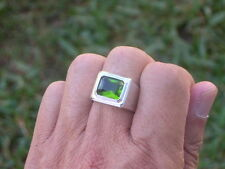11 X 9 mm August Green Peridot Birthstone Men's Solitaire Rhodium Ring Size 8