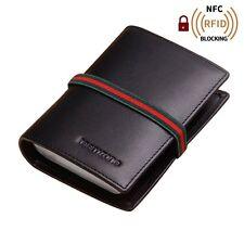 RFID Bloque Tarjetero Negro Piel de Banda Elástica 22 Ranuras para Tarjetas
