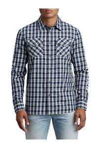 True Religion Men's Hype TR Utility Front Button Long Sleeve Shirt in Indigo Sky