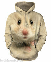 The Mountain Hamster Face Adult Graphic Printed Hoodie Size XL