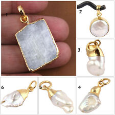 Christmas Sale Natural White Rainbow Mother Of Pearl Gold Plated Charms Pendant