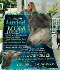 Wolf Daughter To My Loving Mom To Me You Are The World Fleece, Quilt Blanket