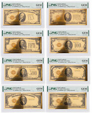 8 Piece Set 1928 $10-$10,000 24KT Gold Certificate Commemorative Set PMG Gem Unc