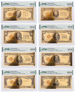 8 Piece Set 1928 $10-$10,000 24KT Gold Certificate Commemorative Set PMG Gem Unc