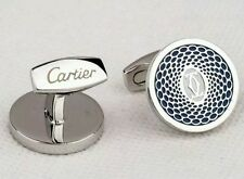 CARTIER CUFFLINKS DOUBLE C WEALTHY LOOK EDITION SILVER/BLUE TONE