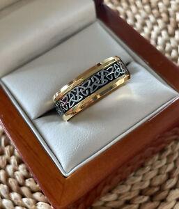 Mens 8mm Celtic Knot Ring Stainless Steel Viking Trinity Irish Wedding Band Gold