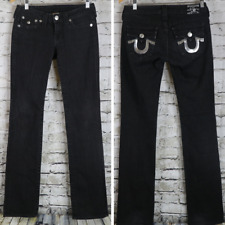 TRUE RELIGION Jeans BILLY Black Silver Embellished Low Rise MINT 27 28 x 32