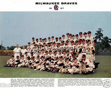 1957 MILWAUKEE BRAVES WORLD CHAMPS HOF 8X10 TEAM PHOTO #2