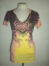 SINFUL BY AFFLICTION SIZE SMALL YELLOW V-NECKLINE MULTI-COLOR TATTOO PRINT TOP