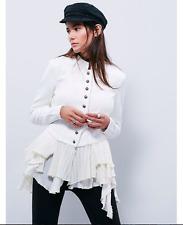 NWOT Free People Military Ruffles Brocade Peplum Jacket White Ivory 2 XS Rare