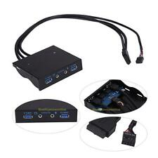 "3.5"" 20Pin to 2 USB 3.0 Port HUB + HD Audio PC Floppy Expansion Front Panel Rack"
