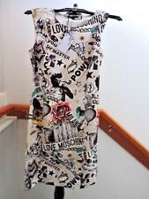 NWT LOVE MOSCHINO 80s GRAPHIC PRINT STRETCH COTTON SHEATH DRESS US 6 (S)