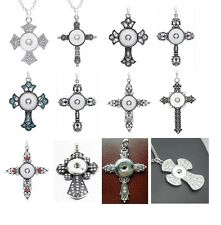 New 10PCs Assorted Mixed Styles Cross Snap Button DIY Pendant Charm Necklaces