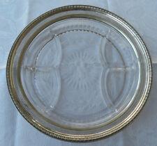 ANTIK Art DEco Schale Glas mit Silberrand Sterling Ø 31,5 x H 4,5 cm England 925