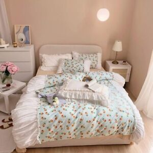 French Country Chic Floral Pleated Duvet Cover Set Queen King Premium 100%Cotton