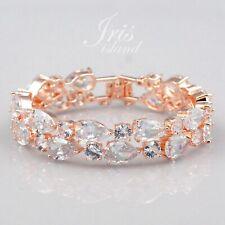 ROSE GOLD Plated Clear Cubic Zirconia CZ Bridal Wedding Tennis Bracelet 06116