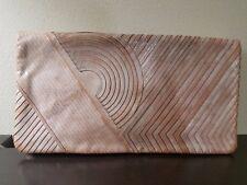 Reed Krakoff Beige Leather Geometric Stitched Foldover Envelope Clutch Handbag