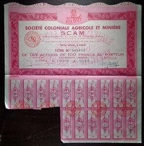 Sté. COLONIALE AGRICOLE MINIERE  (SCAM) - ACTIONS 100 FRANCS - FRANCE bond