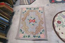 Vintage Primitive American Hand Made Hooked Rug Wool on Burlap - 2'3 x 3'6
