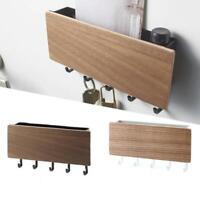 Retro Wood Wall Mounted Key Holder Wooden Case Storage Rack House Hook Box Decor