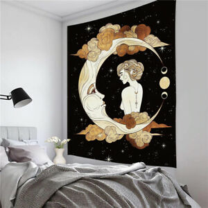 Girl & Moon Psychedelic Twin Tapestry Wall Hanging Hippie Bohemian Mandala Art