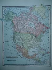 Vintage 1896 NORTH AMERICA MAP Old Authentic Antique Atlas Map 96/70318