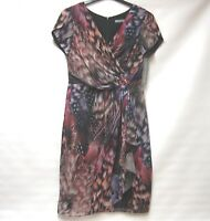BNWT MICHAELA LOUISA MULTI COL FEATHER PRINT JEWEL OCCASION DRESS UK 12 RRP £159