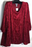 New Catherines women Plus size 3x V Neck stretch textured Red Velvet Tunic Top