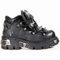 NEW ROCK 110-S1 BLACK  REACTOR GOTHIC SPIKES NEWROCK LEATHER BOOT ANKLE BOOTS