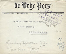 INDONESIA :1951 stampless Commercial envelope to Surabaia-PORT PAYE cachet