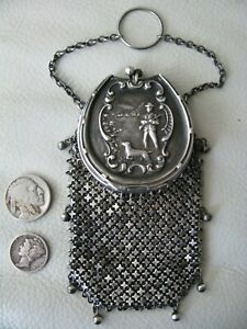 Antique STERLING Silver Chatelaine HUNTING SCENE 8 Tassel Chain Mail Coin Purse