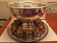 F.B. Rogers Silver Co 1883 Silver Plated Punch Bowl With 12 Cups & Underplate