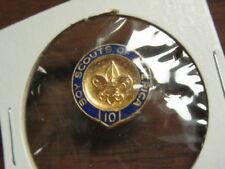 10 Year BSA Veteran Pin, Not a Service Star, 1/20 10K Gold Crest Craft    c18