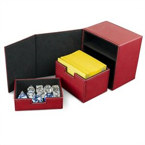 BCW Red Leatherette Deck Box Vault LX Hold 100 Sleeved Topload Gaming CCG Cards