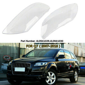 Pair Headlight Headlamp Lens Clear Cover Replacement Fit For Audi Q7 2007-2016