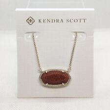 New Kendra Scott Delaney Pendant Necklace In Sandstone / Gold