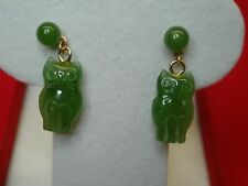 10K YELLOW GOLD STUD EARRINGS WITH JADE OWLS & BALL STUD - CUTE